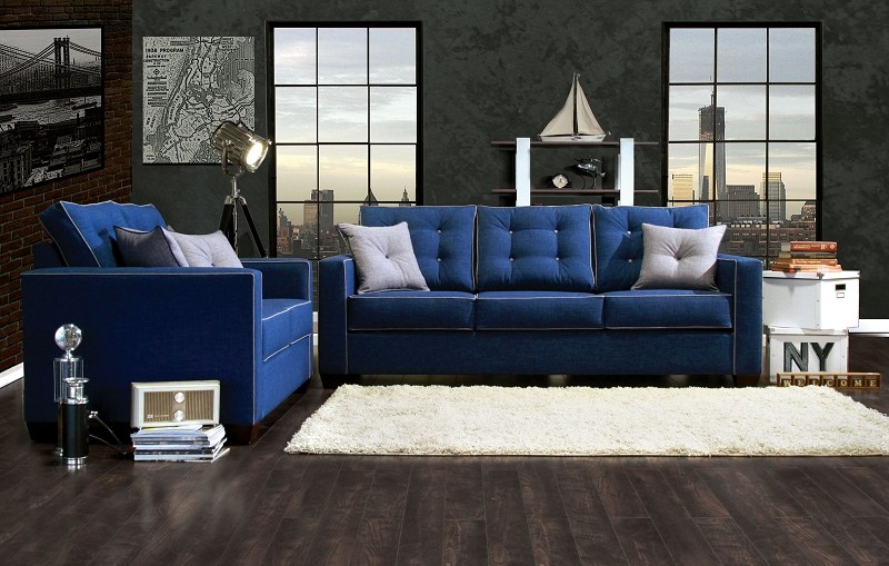 2 PCS SOFA SET BLUE