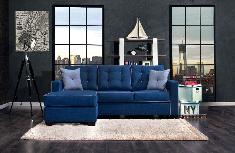 FURNITURE OF AMERICA RAVEL II 2 PCS SECTIONAL BLUE, SM8852