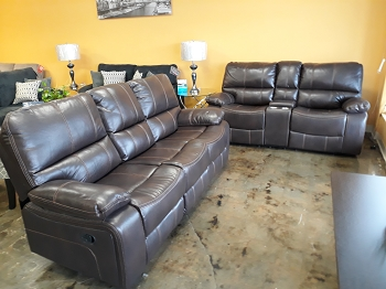 2 PCS SOFA SET BROWN LEATHER AIR  WITH RECLINERS (SOFA WITH DROP DOWN CONSOLE)
