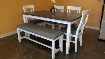 6 PCS DINING SET ANTIQUE WHITE WITH GRAY TOP