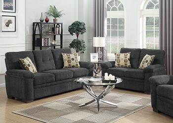 COASTER, 2 PCS SOFA SET CHARCOAL CHENILLE, 506584-S2