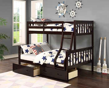 ASIA DIRECT, TWIN/FULL BUNK BED ESPRESSO FINISH, AD-8432