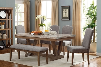 6 PCS DINING SET TABLE MARBLE TOP, 4 CHAIRS AND 1 BENCH