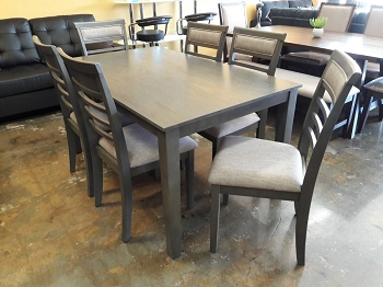 7 PCS DINING SET GRAY FINISH