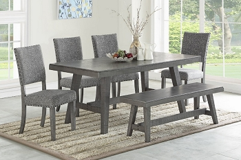POUNDEX, 6 PCS DINING SET GRAY, F2480, F1773, F1775