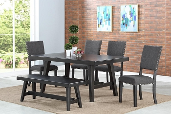 POUNDEX, 6 PCS DINING SET BLACK, F2481, F1774, F1776