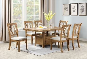 POUNDEX, NEW 7 PCS DINING SET WARM BROWN, F2492, F1796