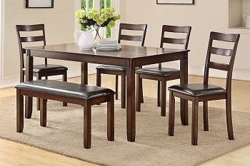 6 PCS DINING SET BROWN, F2547