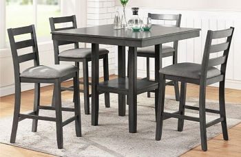 POUNDEX, 5 PCS COUNTER HEIGHT TABLE SET GRAY FINISH, F2552