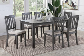 POUNDEX, 7 PCS DINING SET GRAY WOODEN TOP , F2553