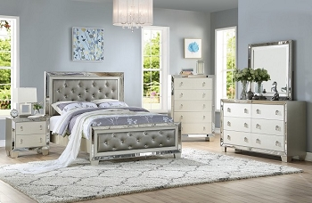 POUNDEX, BEDROOM SET SILVER, F9428