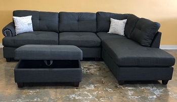 POUNDEX, REVERSIBLE SECTIONAL ASH BLACK, F6415
