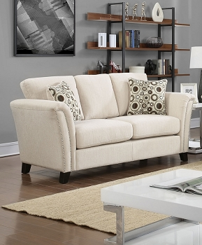 FURNITURE OF AMERICA, CAMPBELL LOVE SEAT BEIGE FABRIC, CM6095IV-LV