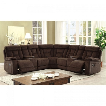SECTIONAL BROWN CHENILLE, 2 CUP HOLDER & 2 CONSOLES, CM6773BR