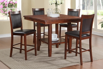 POUNDEX, 5 PCS COUNTER HEIGHT TABLE SET WALNUT, F2294, F1387