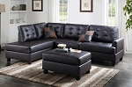 POUNDEX BRAND NEW SECTIONAL + OTTOMAN ESPRESSO BONDED LEATHER, F6855