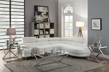 POUNDEX, SECTIONAL WHITE BONDED LEATHER, F6985