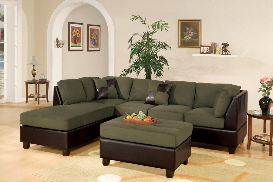 3 PC SECTIONAL MICROFIBER FREE OTTOMAN.