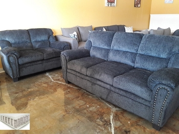 2 PCS  SOFA SET GRAPHITE CHENILLE, POCKET COIL SEATING, 506574-S2
