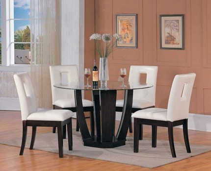 ACME, 5PCS DINETTE SET GLASS ROUND TABLE + 4SIDE CHAIRS, AC-10033,10033