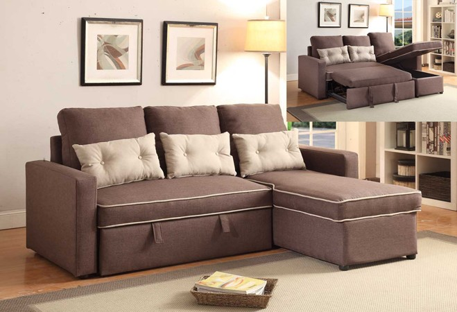 PULL OUT SOFA AND STORAGE CHAISE