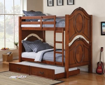 ACME, TWIN/TWIN BUNK BED CHERRY FINISH, 37005