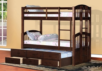 BELLA ESPRIT BUNK BED TWIN/ TWIN +TRUNDLE+3DRAWER STORAGE, 45179