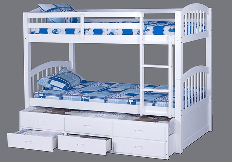 Bunk Bed Twin Twin Trundle 3drawers Storage
