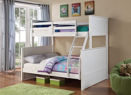 BELLA ESPRIT, TWIN/FULL BUNK BED WHITE FINISH, 45266