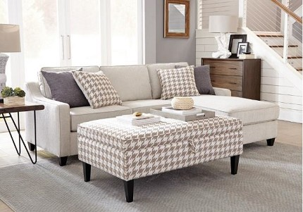 REVERSIBLE SECTIONAL BEIGE FABRIC, 501170