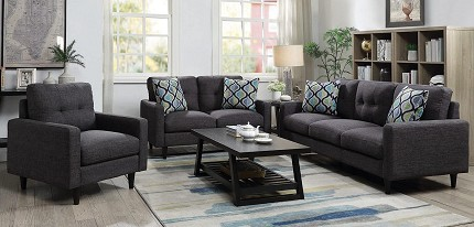 2 PCS SOFA SET GRAY WITH POCKET COIL SEATINGS, 552001-S2 (CHAIR SOLD SEPARATELY)