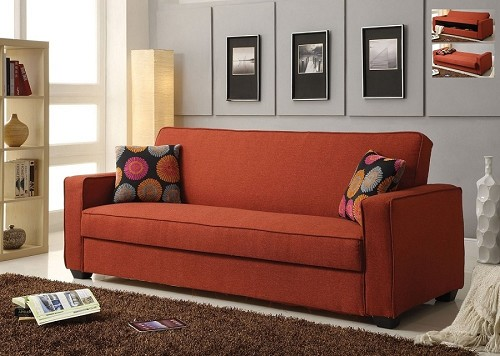 ADJUSTABLE SOFA WITH 2 PILLOWS RED LINEN