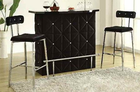 ACME, BAR TABLE CHROME AND BLACK VELVET (STOOLS SOLD SEPARATELY), AC-70955