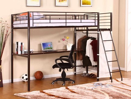 ASIA DIRECT TWIN METAL LOFT BED WITH DESK, 829