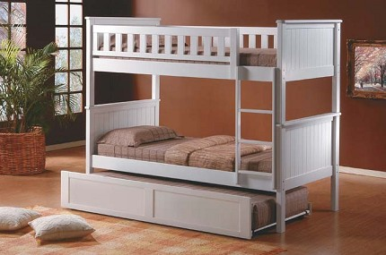 ASIA DIRECT TWIN/TWIN BUNKBED W/TRUNDLE, 833-WH