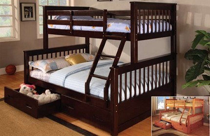 ASIA DIRECT TWIN/ FULL BUNKBED DARK WALNUT, 838-BK