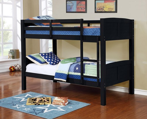 ASIA DIRECT BLACK TWIN/TWIN BUNK BED (MATTRESS NOT INCLUDED), 8431-BK