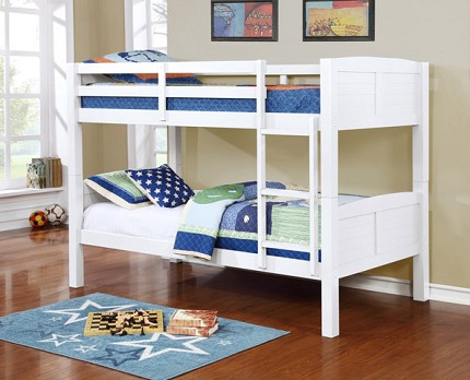 TWIN/TWIN BUNK BED WHITE FINISH (MATTRESS IS NOT INCLUDED)