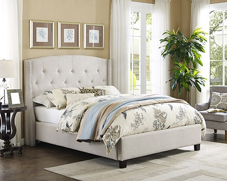 ASIA DIRECT,  BED FRAME EASTERN KING BEIGE, 8614-EK