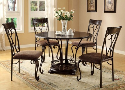 ASIA DIRECT 5PCS ROUND TABLE + METAL SIDE CHAIR, 9135/9136