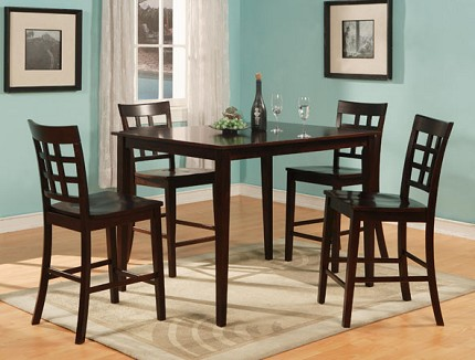 ASIA DIRECT, 5 PCS COUNTER HEIGHT TABLE + 4 PUB CHAIR, 9340