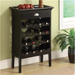 ACME, WINE RACK  FAUX MARBLE TOP BLACK FINISH, 97012