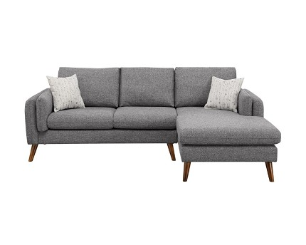 SECTIONAL GRAY FABRIC WITH 2 ACCENT PILLOWS