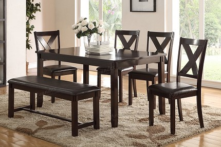 POUNDEX, 6PCS SET TABLE + 4 CHAIRS + BENCH, F2297