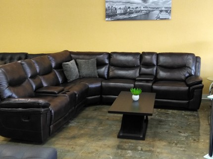 SECTIONAL BROWN LEATHER GEL, 3 RECLINERS & 2 CONSOLES, VERONA