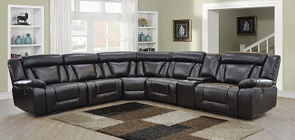 POWER MOTION SECTIONAL  ESPRESSO LEATHER AIR