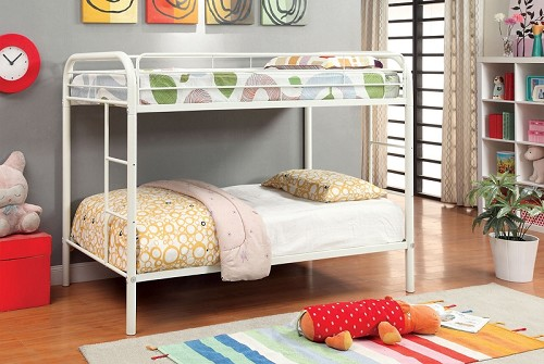 FURNITURE OF AMERICA, RAINBOW TWIN/TWIN METAL BUNK BED WHITE, CM-BK1032WH