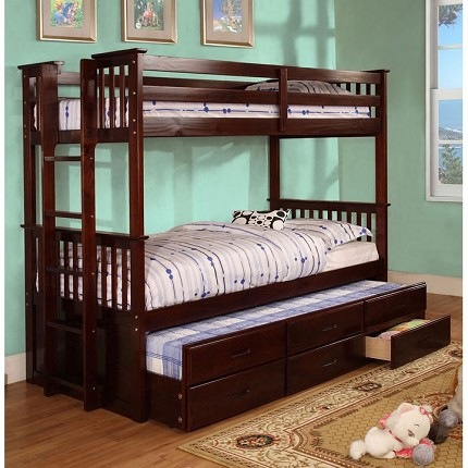 FURNITURE OF AMERICA, UNIVERSITY TWIN TWIN BUNK BED (TRUNDLE SOLD SEPARATELY), CM-BK458EXP