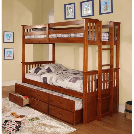 TWIN TWIN BUNK BED (TRUNDLE SOLD SEPARATELY)