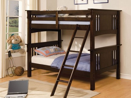 FURNITURE OF AMERICA SPRING CREEK TWIN TWIN BUNK BED ESPRESSO, CM-BK602T-EXP